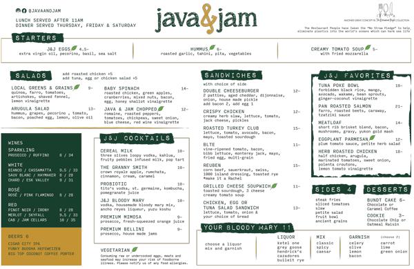 Java&JamMenuLunch